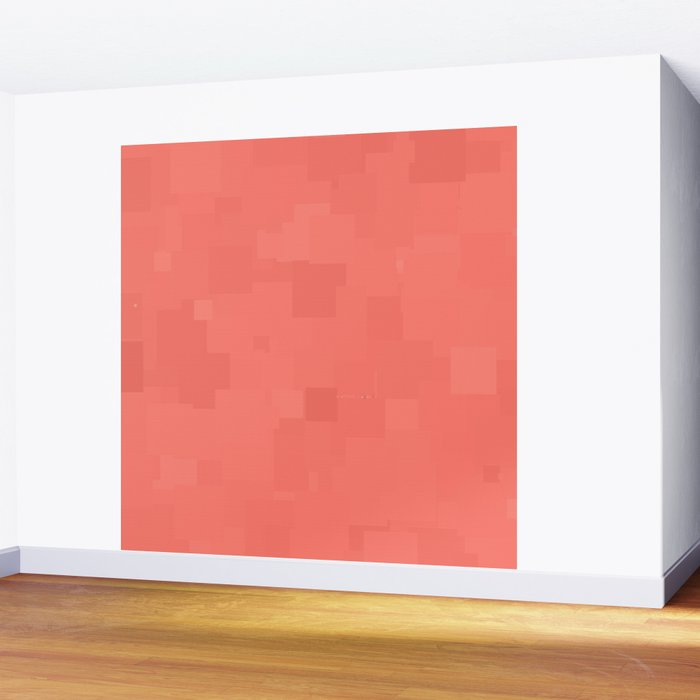 Coral Island Accent Wall: Coral Reef Square Pixel Color Accent Wall Mural By