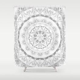 Gray Floral Damask Mandala Shower Curtain