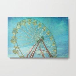 Ferris Wheel I carnival, creamy, carnival print, nursery print, home decor, carnival decor, Metal Print