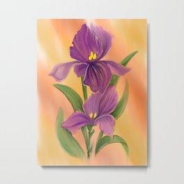 Purple Iris in warm sunshine Metal Print