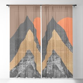 Abstraction_SUN_Mountains_Peak_Minimalism_001 Sheer Curtain