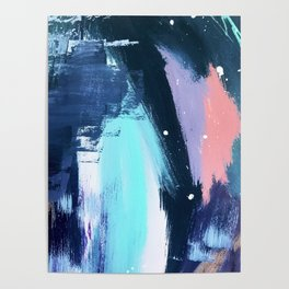 Playful [3]: a bold abstract piece in vibrant blues, pink, purple and white Poster