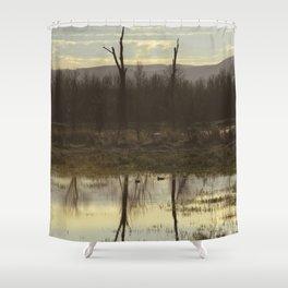 Pacific Northwest Nature Scene Reflection Shower Curtain