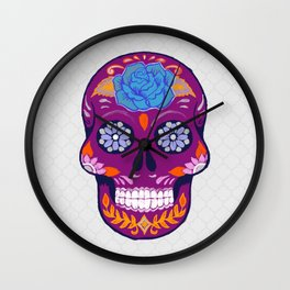 Mexican Skull Art in Purple and Blue Wall Clock