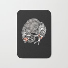 Chameleon & Fly , Funny Wild Animal Illustration, Black & White with Rose Gold Metallic Accent Bath Mat