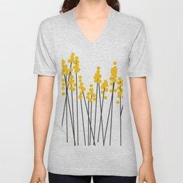 Hello Spring! Yellow/Black Retro Plants on White #decor #society6 #buyart Unisex V-Neck