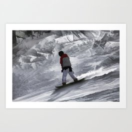 "Snowboarder ""just cruisin'"" Winter Sports Gift Art Print"