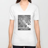 baltimore V-neck T-shirts featuring Baltimore map by Map Map Maps