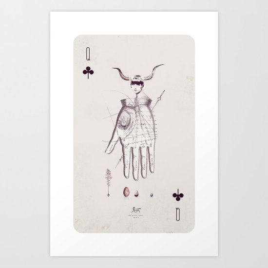 Queen of Clubs Art Print