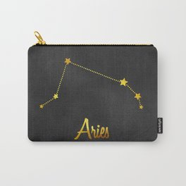 Aries Constellation in gold Carry-All Pouch