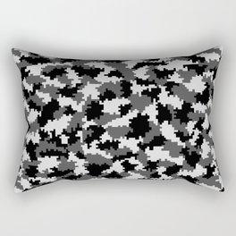 Camouflage Digital Black and White Rectangular Pillow
