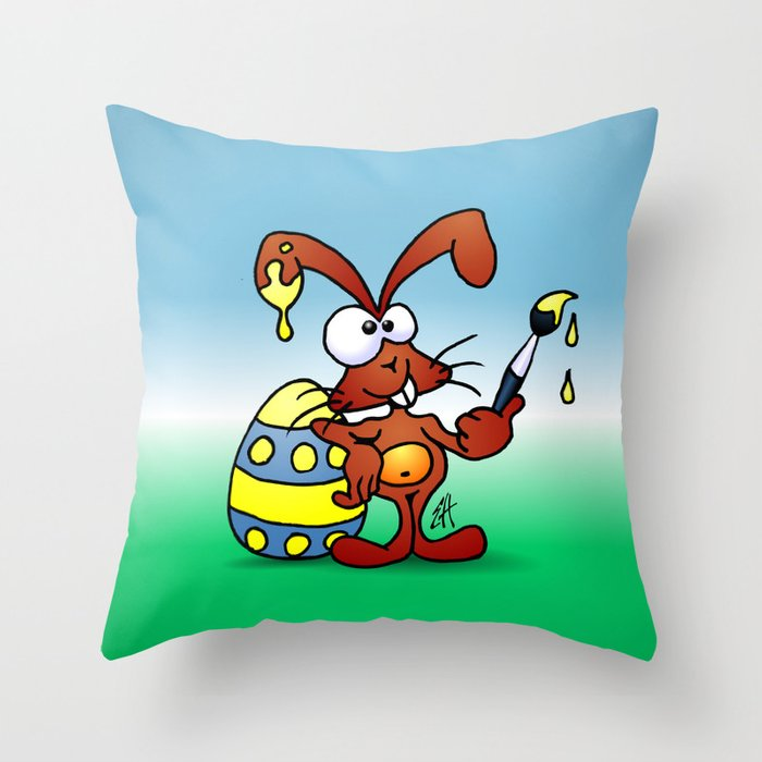 The Easter Bunny wishes you Happy Easter Throw Pillow
