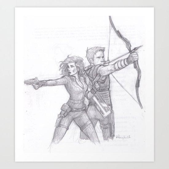 Black Widow and Hawkeye Art Print