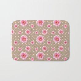 Pink Daisies Pattern Bath Mat