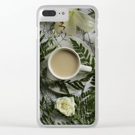 Flowers and Coffee Clear iPhone Case
