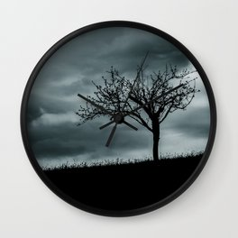 Alone tree before the storm Wall Clock