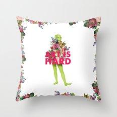Art Is Hard - Flower Girl Throw Pillow