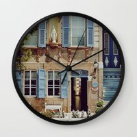 jewish Wall Clocks featuring Blue Shutters in the Sun by Brown Eyed Lady