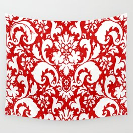 Paisley Damask Red and White Pattern Wall Tapestry