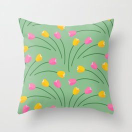 Spring colorful tulips fans pattern on pastel green Throw Pillow