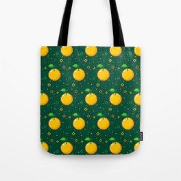 Pixel Oranges - Green Tote Bag