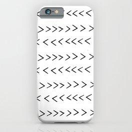 linocut Mudcloth grey and white minimal modern chevron arrows pattern gifts dorm college decor iPhone Case