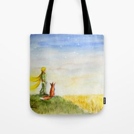 Little Prince, Fox and Wheat Fields Tote Bag