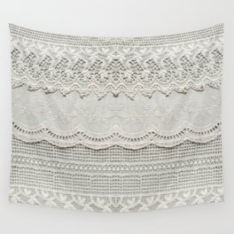 Beautiful, subtle, white laced textile close up. Good for bedroom, fashion, cloth, apparel, interior, folk, textile, ornament or background design. More of this motif & more textiles in my port. Wall Tapestry