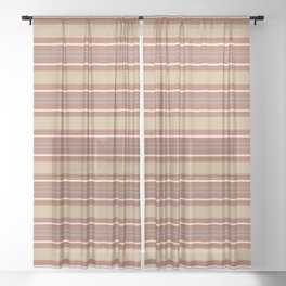 Cavern Clay SW 7701 and Accent Colors Thick and Thin Horizontal Lines Bold Stripes 2 Sheer Curtain