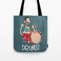 drums Tote Bags featuring Drums! by soy8bit