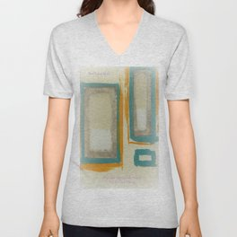 Soft And Bold Rothko Inspired - Modern Art - Teal Blue Orange Beige Unisex V-Neck