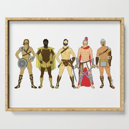 5 Gladiators and Warriors Serving Tray