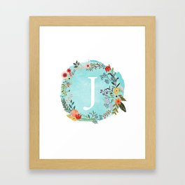 Personalized Monogram Initial Letter J Blue Watercolor Flower Wreath Artwork Framed Art Print