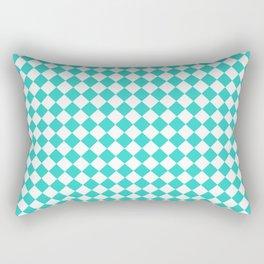 White and Turquoise Diamonds Rectangular Pillow