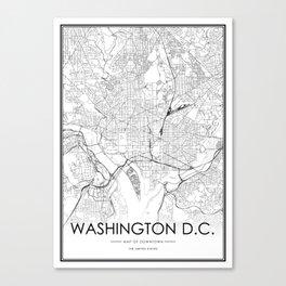 Washington DC City Map United States White and Black Canvas Print