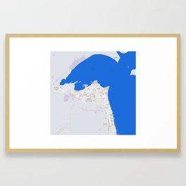 Minimalist Modern Map of kuwait City, Kuwait 2 Framed Art Print