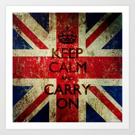 Square Keep Calm and Carry On Grunge Union Jack Art Print