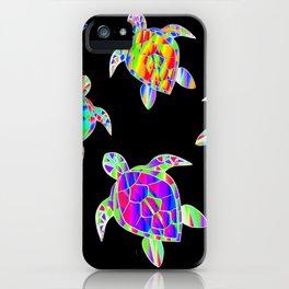 Turtle full color multicolor happy color Tortues multicolores iPhone Case