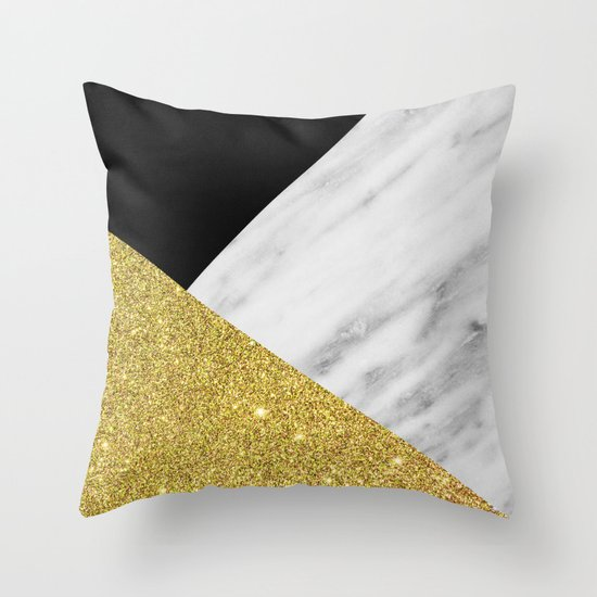 Marble Amp Gold Geometry Throw Pillow By Cafelab