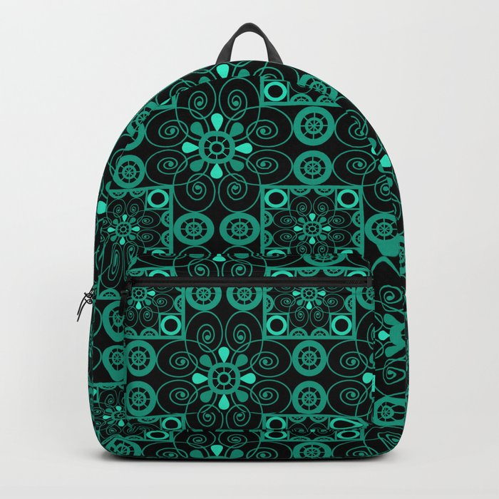 Turquoise and black pattern . Backpack