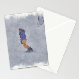 Sliding into Home - Winter Snowboarder Stationery Cards