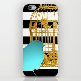 Bird Silhouette & Golden Cage iPhone Skin