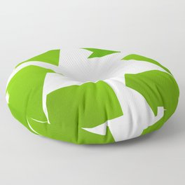 Green Recycle symbol on white background Floor Pillow
