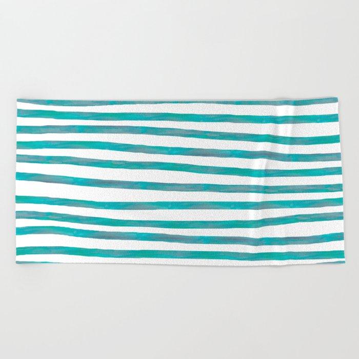 Ocean Green Hand-painted Stripes Beach Towel
