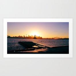 Sydney setting from Bradley's Head. Sydney harbour. Australia Art Print