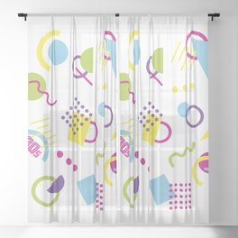 1980s Colorful Retro Abstract Geometric Shapes Sheer Curtain