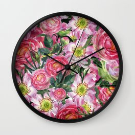 Vintage & Shabby-chic - floral dog roses flowers rose flower Wall Clock