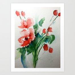 Watercolor Red Flowers Art Bouquet Art Print