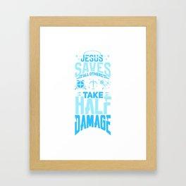 Jesus Saves Gamer Damage Roleplay Tabletop Gift Framed Art Print