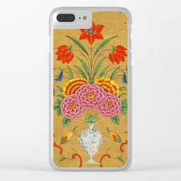 Flower arrangement and scrollwork -Vintage Indian Art Print Clear iPhone Case